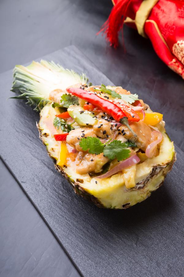 Chicken With Pineapple Asian Dish Stock Image - Image of ...