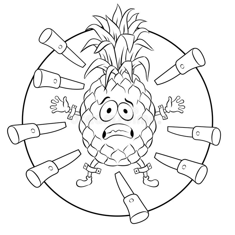 Pineapple target coloring book vector illustration. Pineapple target for throwing knives coloring vector illustration. Cartoon food character. Isolated image on royalty free illustration
