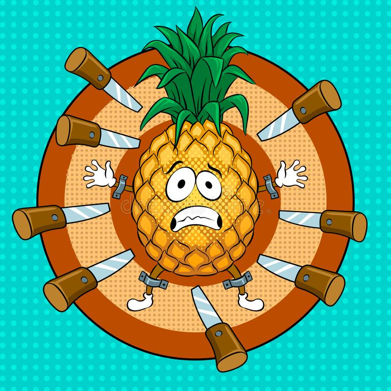 Pineapple target pop art vector illustration. Pineapple target for throwing knives pop art retro vector illustration. Cartoon food character. Color background vector illustration