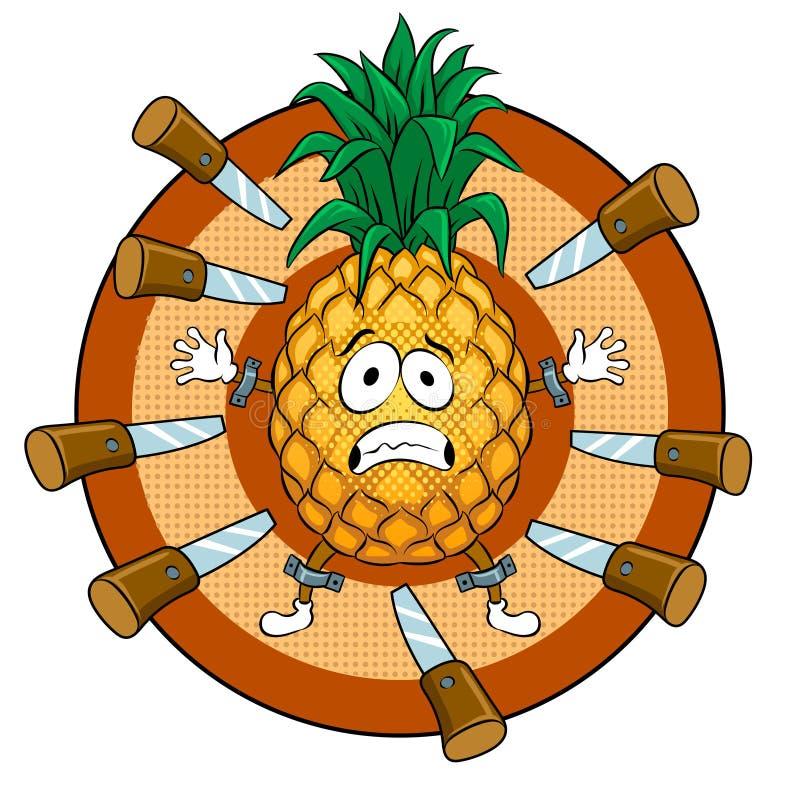 Pineapple target pop art vector illustration. Pineapple target for throwing knives pop art retro vector illustration. Cartoon food character. Isolated image on vector illustration