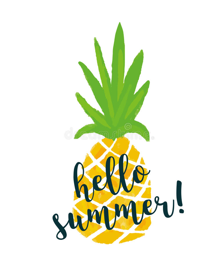 Pineapple with text `Hello summer`. Ananas summer background. vector illustration