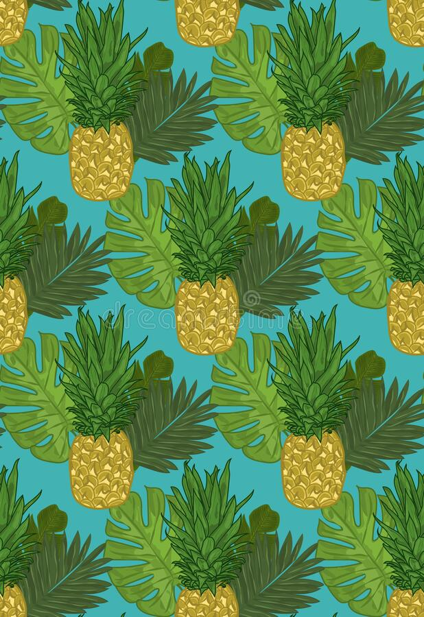 Pineapple tropical leaves - seamless pattern. stock photos
