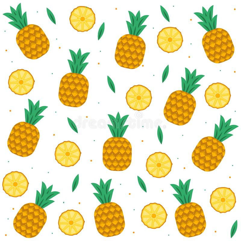 Pineapple vector background. Summer colorful tropical textile print. Pineapple slices, pineapples, leaves on white background. royalty free illustration