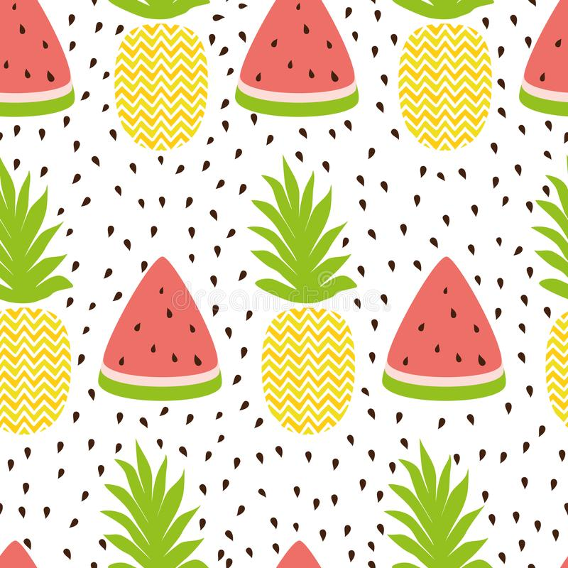 Pineapple watermelon simple seamless background in fresh fruit summer colors stock illustration