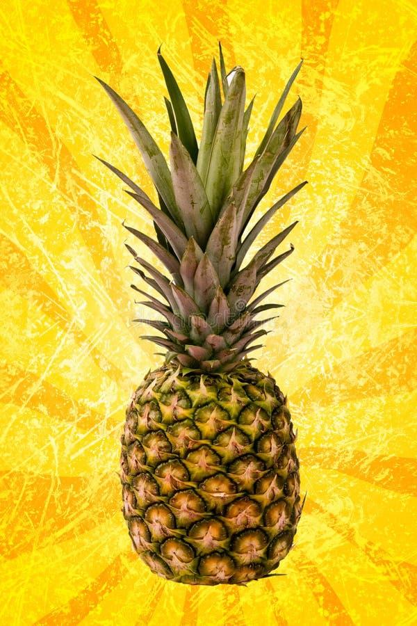 Pineapple on yellow spiral stock image