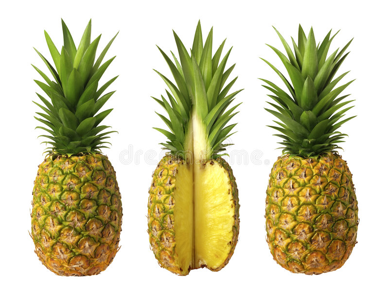 Pineapples. Three Pineapples isolated on white. Isolation is on a transparent layer in the PNG format royalty free stock images