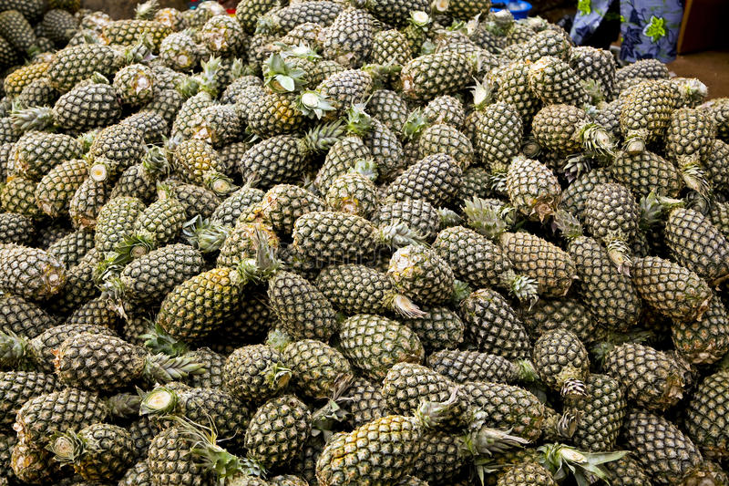 Pineapples at Outdoor Market in Ghana. Photographed at outdoor market in Accra, Ghana stock photography