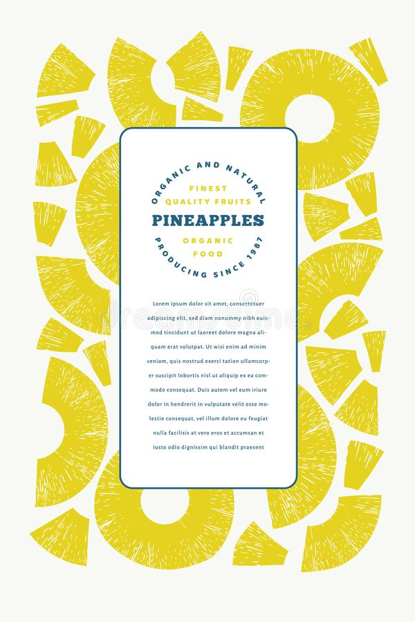 Pineapples pieces design template. Hand drawn vector tropical fruit illustration. Engraved style ananas fruit banner. Retro food stock illustration