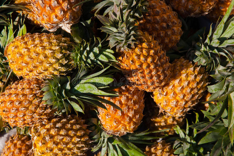 Pineapples at the street market. Vietnam royalty free stock photography