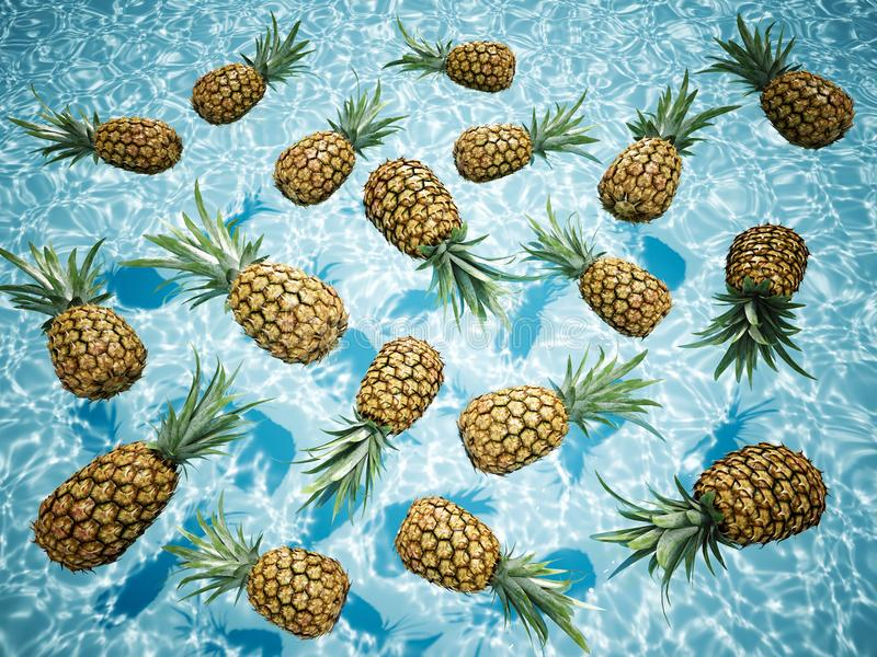 Pineapples swimming in a blue pool. 3d rendering stock image