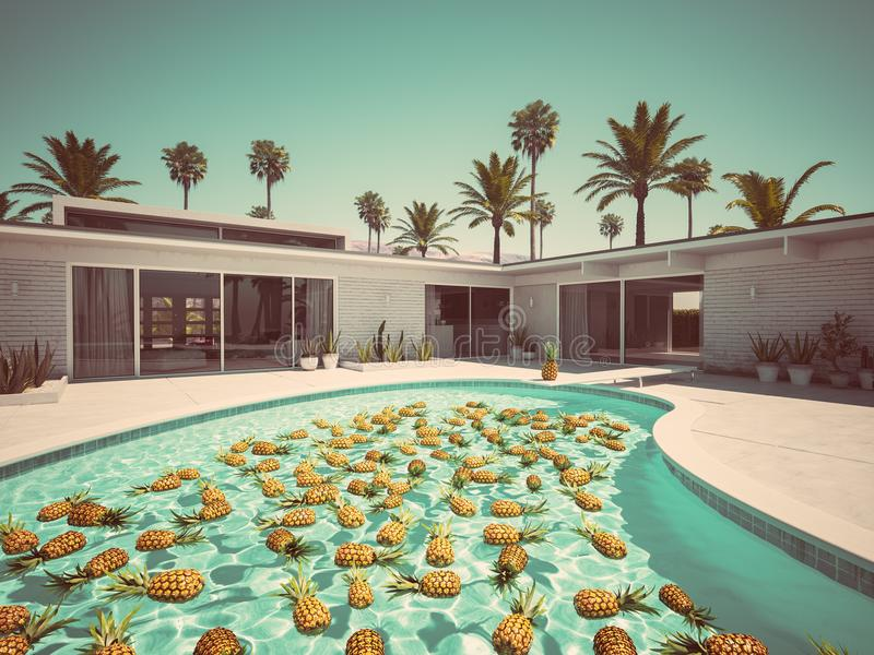 Pineapples swimming in a blue pool. 3d rendering vector illustration