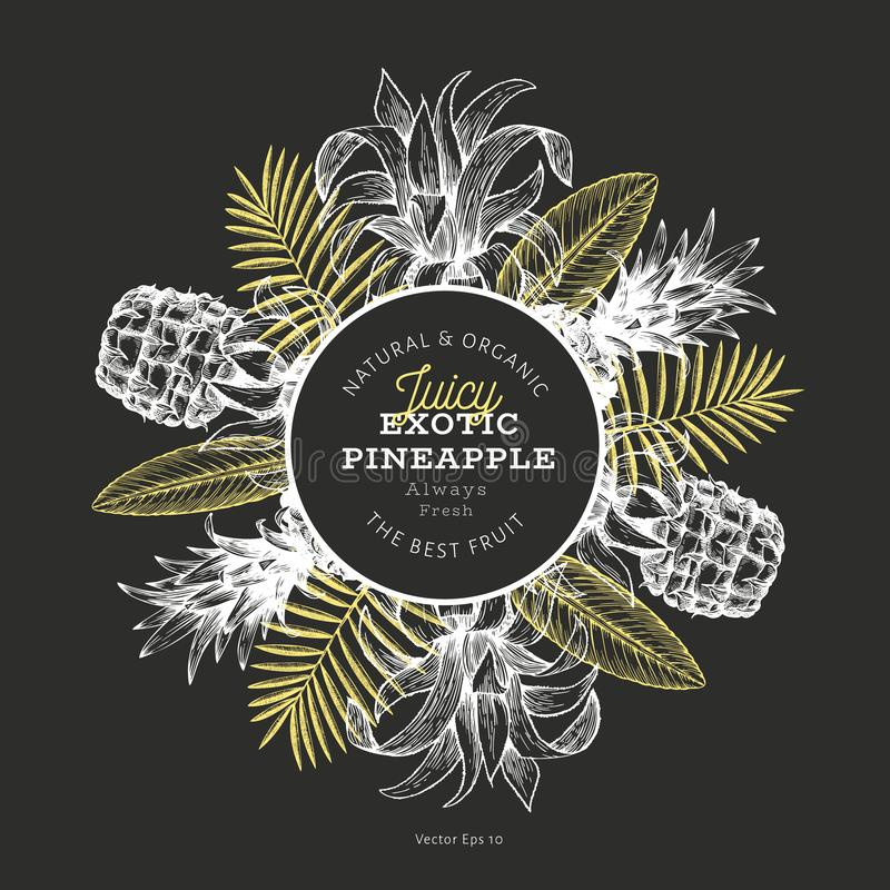 Pineapples and tropical leaves design template. Hand drawn vector tropical fruit illustration on chalk board. Engraved style stock illustration