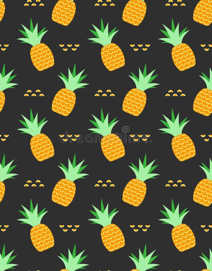 Pineapples tropical seamless pattern royalty free illustration