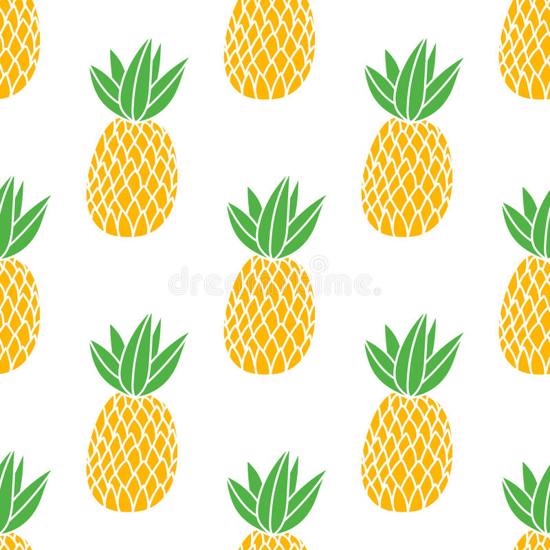 Pineapples on the white background. Vector seamless pattern with tropical fruit. Classic style orange and green royalty free illustration