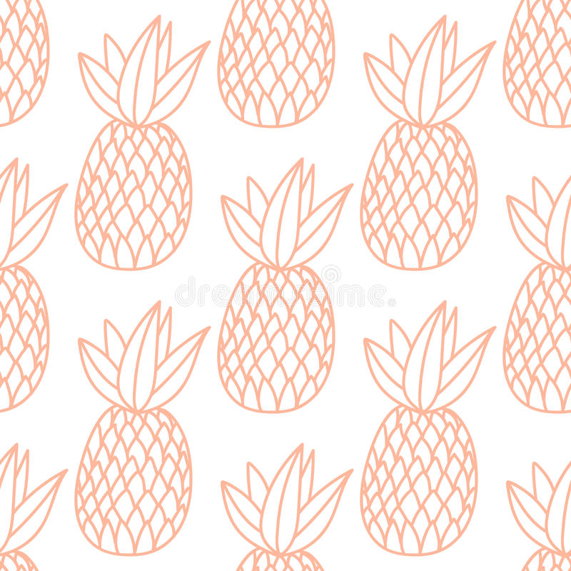 Pineapples on the white background. Vector seamless pattern with tropical fruit. Classic style, orange line stock illustration