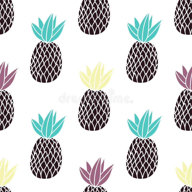 Pineapples on the white background. Vector seamless pattern with tropical fruit. Modern style stock illustration