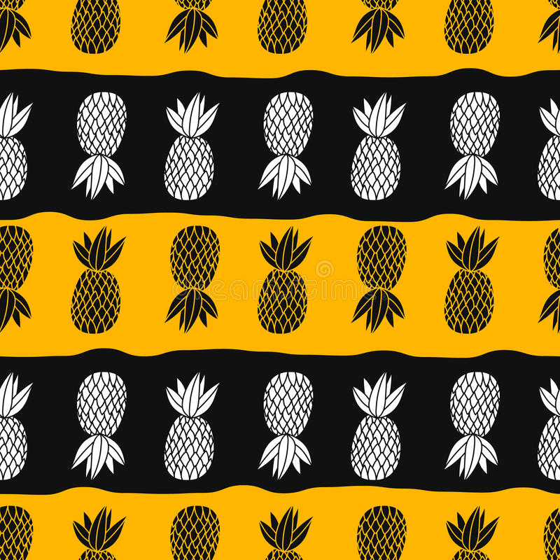 Pineapples on the white background. Vector seamless pattern tropical fruit. Orange and black with stripes stock illustration