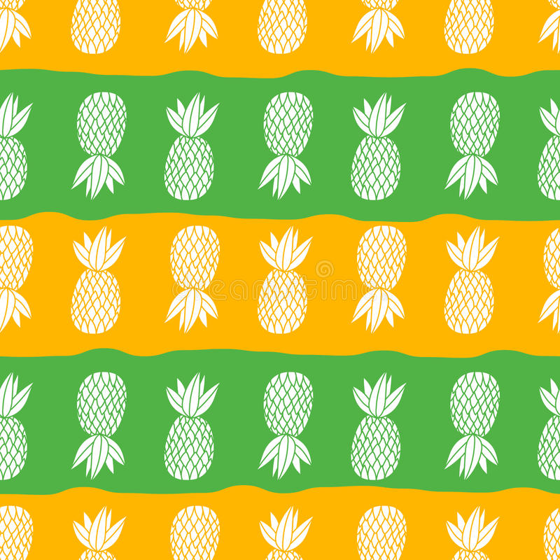 Pineapples on the white background. Vector seamless pattern tropical fruit. Orange and green with stripes royalty free illustration