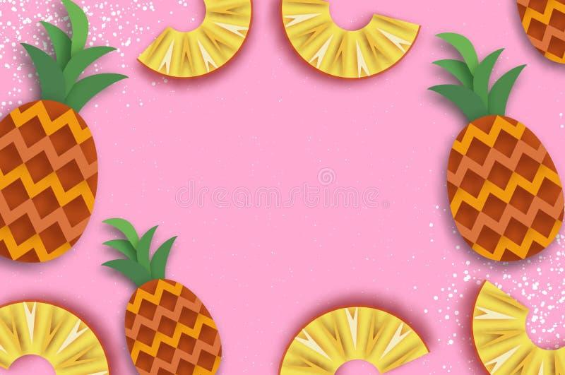Pineappple Odgórny widok Anana w papieru cięcia stylu Origami soczyści dojrzali plasterki Zdrowy jedzenie na menchiach Lato royalty ilustracja