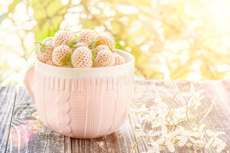 Pineberries frescos maduros en una taza rosada en un estilo r?stico con el peque?o primer de las flores blancas fotos de archivo