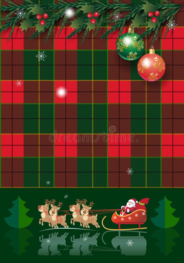 Pinecone de carte de vacances d'hiver de Noël guirlande d'arbre, baies, de sapin rustiques de Noël et guirlande, plaid de décorat illustration libre de droits