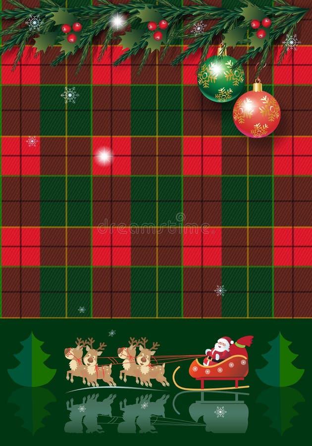 Pinecone de la tarjeta de las vacaciones de invierno de la Navidad guirnalda y guirnalda, tela escocesa del árbol, bayas, de abet libre illustration