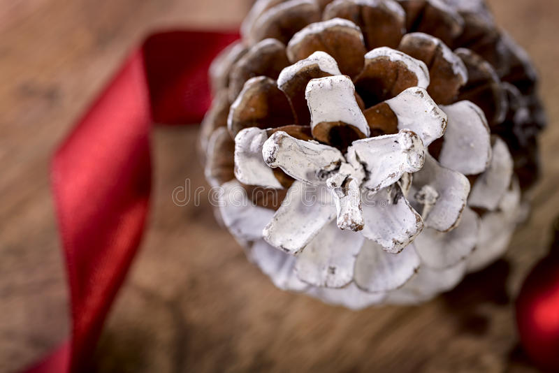 Pinecone and ribbon royalty free stock photography