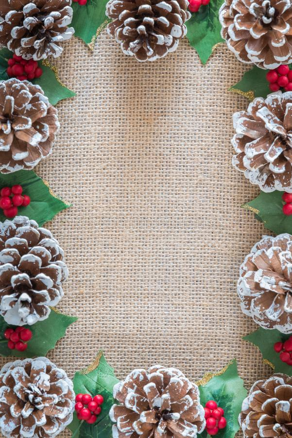 Pinecones, as bagas, e as folhas do azevinho no fundo rústico da tela liso colocam foto de stock royalty free