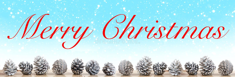 Pinecones de petit morceau de Joyeux Noël sur le fond bleu avec le flocon de neige images libres de droits