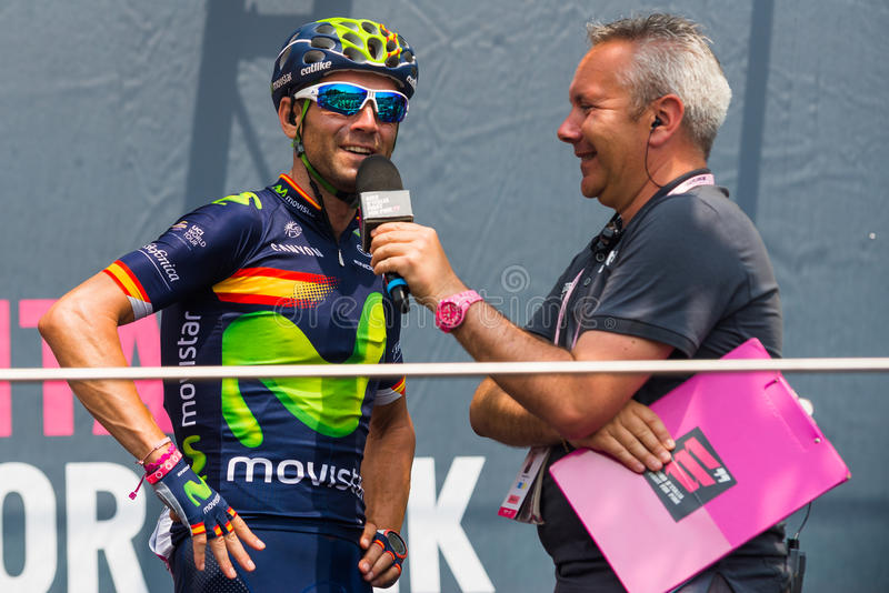 Pinerolo, Italy May 27, 2016; Alejandro Valverde, Movistar Team, to the podium signatures before the start of the Stage stock photography