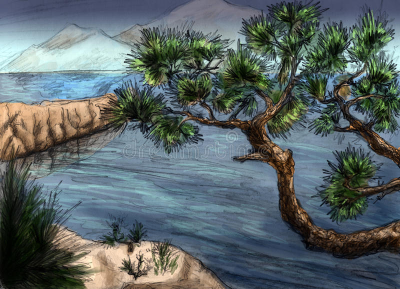 Download Pines Over The Sea - Landscape Stock Illustration - Image: 16314282