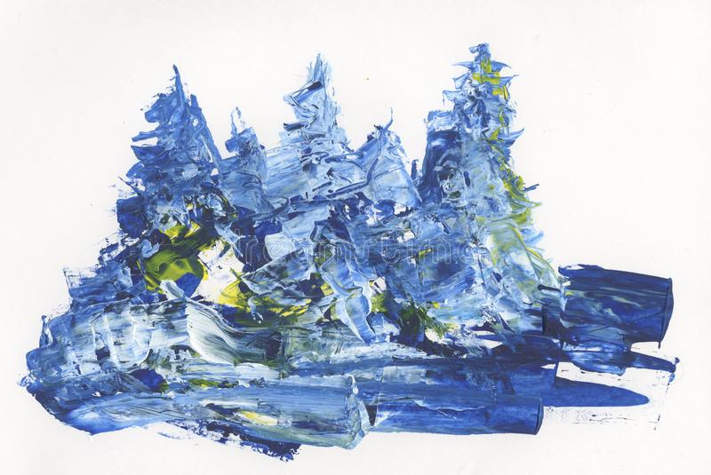 Pines in the snow, winter forest, abstract drawing. Pines in the snow, winter forest, large smears of paints, drawing royalty free illustration