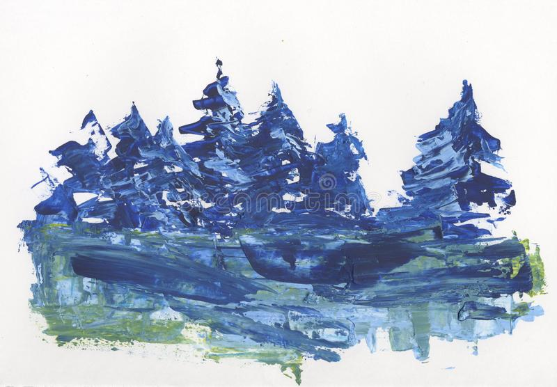 Pines in the snow, winter forest, abstract drawing. Pines in the snow, winter forest, large smears of paints, drawing stock illustration