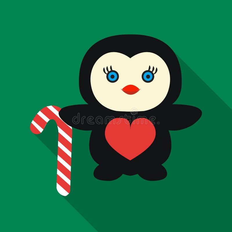 Pingüino con el icono del bastón de caramelo en estilo plano aislado en el fondo blanco Ejemplo del vector de la acción del símbo ilustración del vector