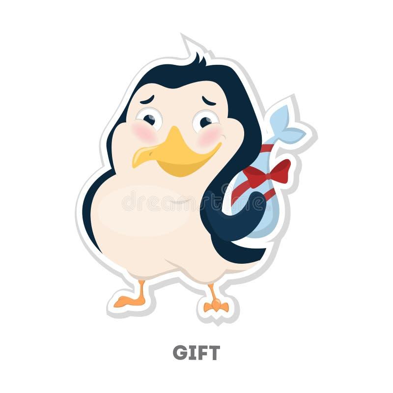 Pingüino con el regalo stock de ilustración