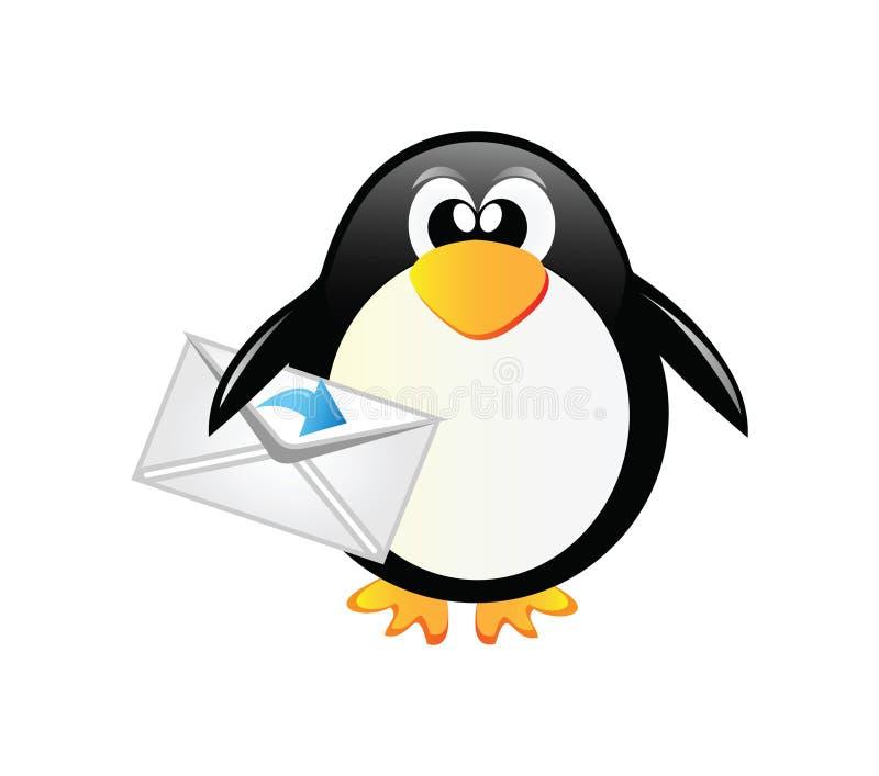 Pingüino con el sobre ilustración del vector