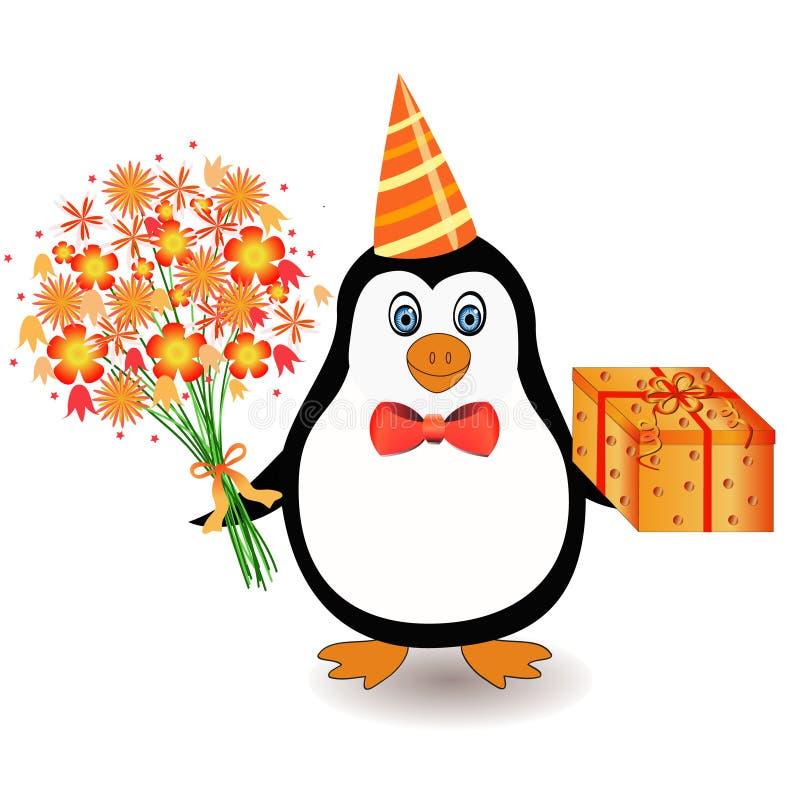 Pingüino con las flores stock de ilustración