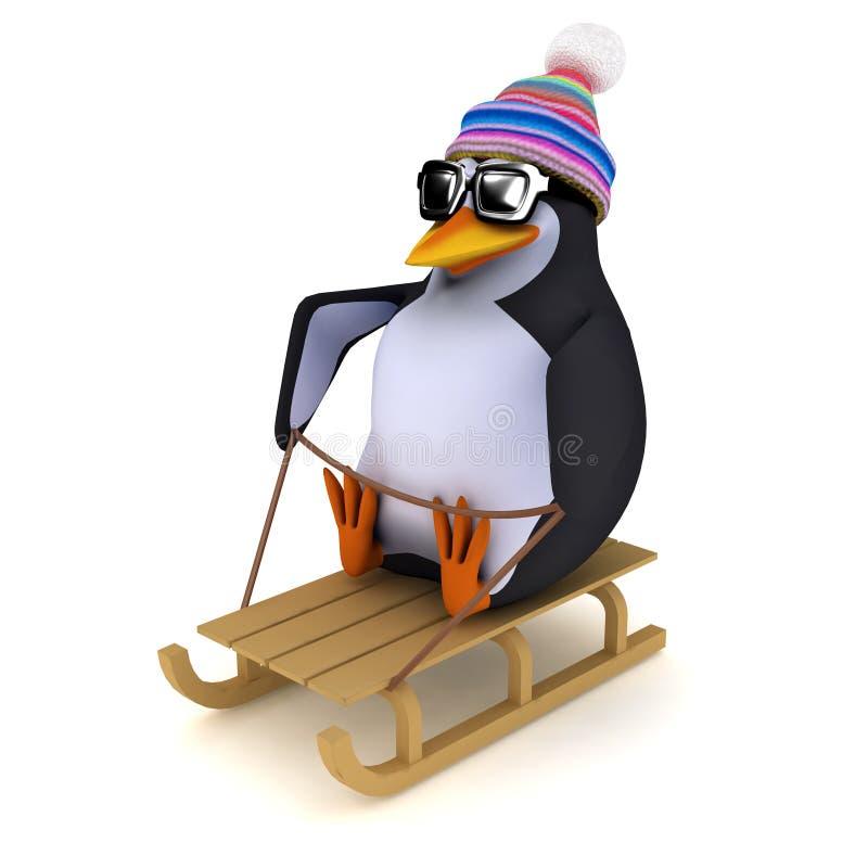 pingüino 3d en un trineo largo ilustración del vector