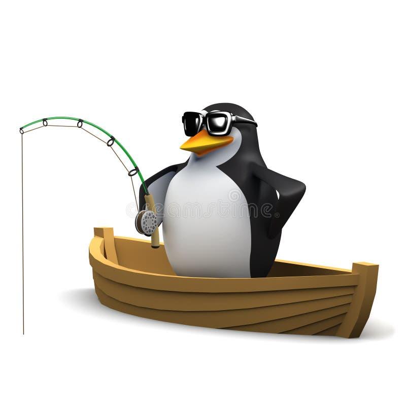 pingüino 3d que pesca de un bote ilustración del vector