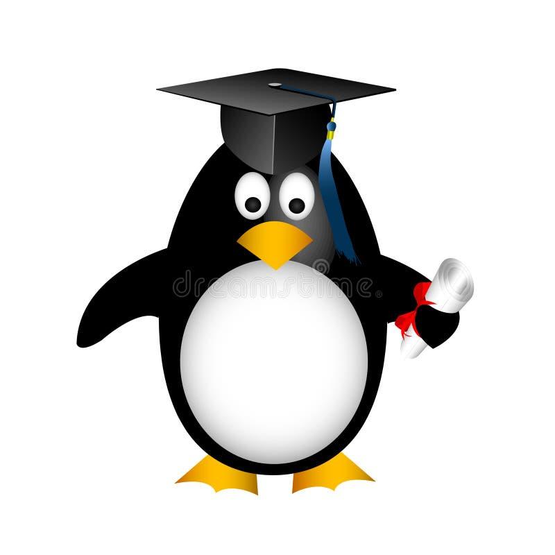 Pingüino de la graduación stock de ilustración