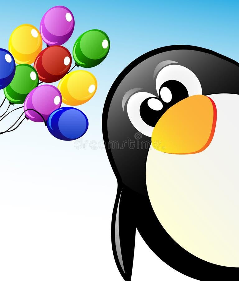 Pingüino de la historieta del vector con los globos ilustración del vector