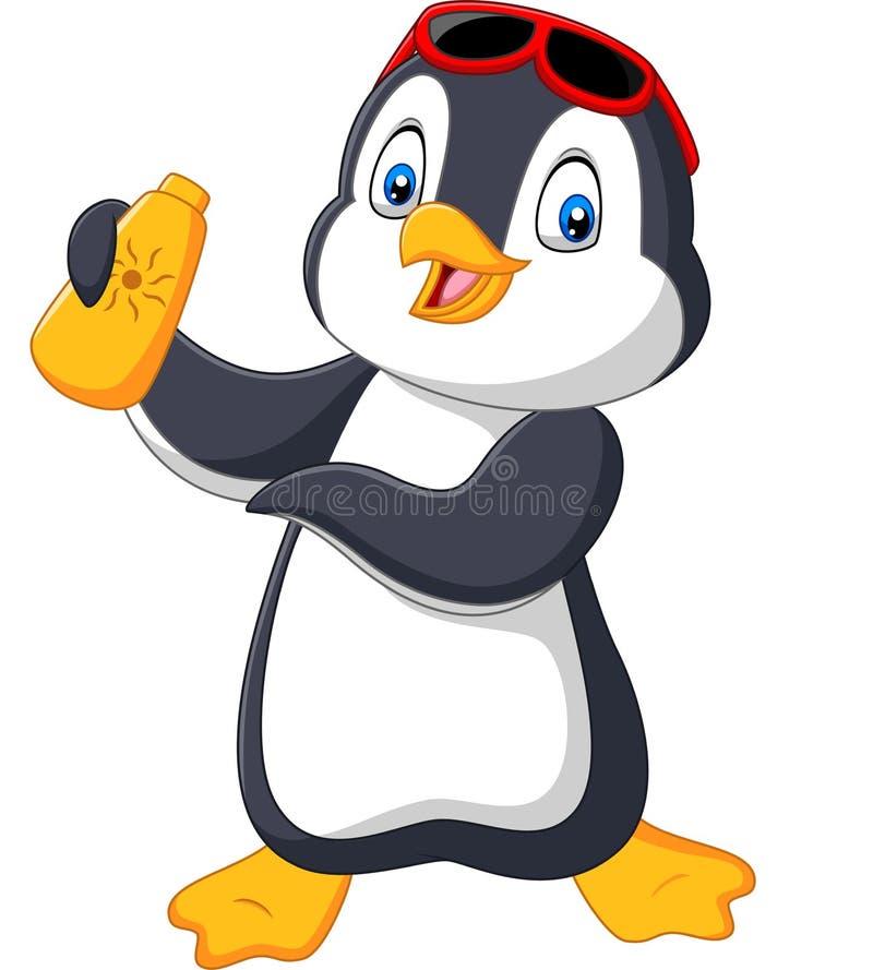 Pingüino de la historieta que sostiene una crema de la loción de la botella del sunblock libre illustration