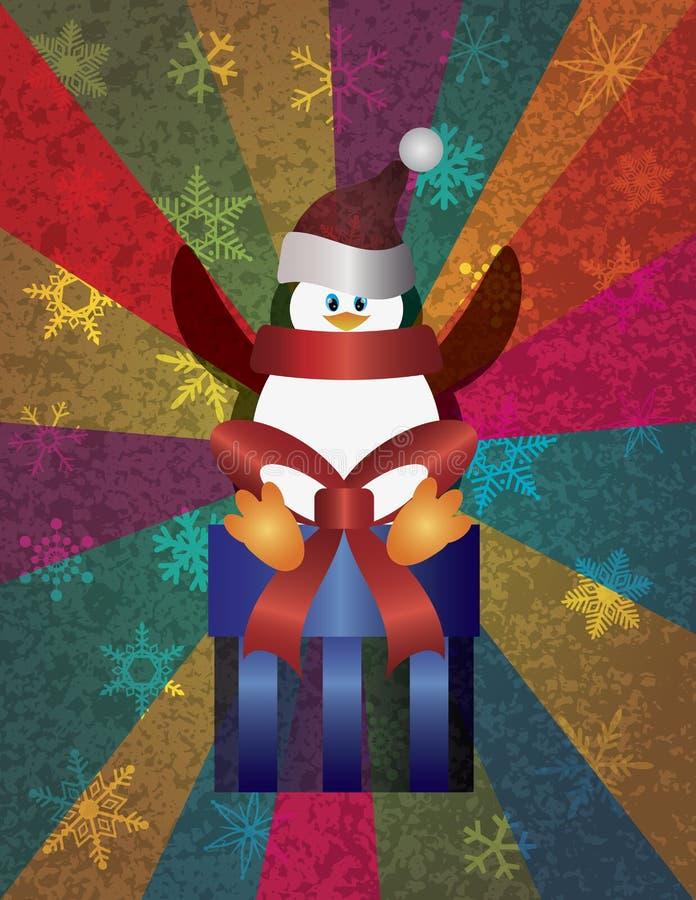 Pingüino de la Navidad con los copos de nieve y los rayos stock de ilustración