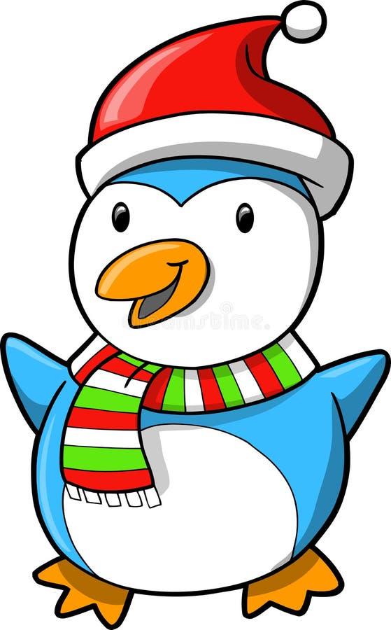 Pingüino del día de fiesta de la Navidad ilustración del vector
