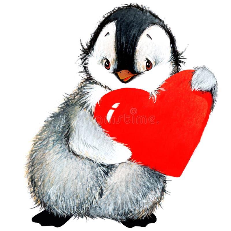 Pingüino del día de San Valentín, corazón rojo stock de ilustración