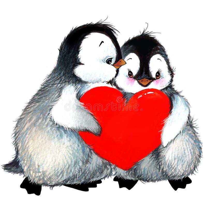Pingüino del día de San Valentín, corazón rojo Ilustración de la acuarela stock de ilustración