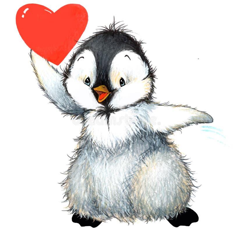 Pingüino del día de San Valentín, corazón rojo Ilustración de la acuarela ilustración del vector