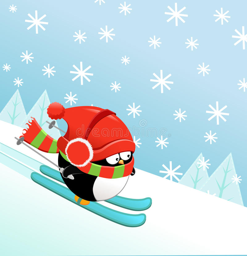 Pingüino del esquí stock de ilustración
