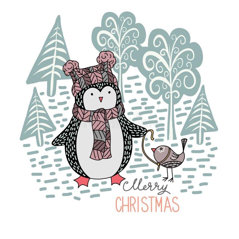 Pingüino dibujado mano linda con un pequeño pájaro en un correo en el bosque del invierno libre illustration