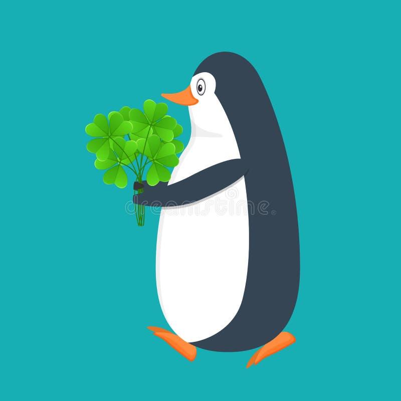 Pingüino divertido, pájaro antártico, con el bouqet del trébol Día de fiesta St Patrick libre illustration